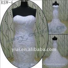 RSW-6 2011 heiße Verkaufs-neue Entwurfs-Dame-moderne elegante kundengebundene reale Applique und Rüsche-Nixe-Brautkleid