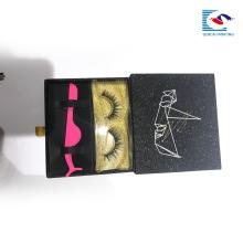 пользовательские логотип черный блеск бумаги ящика коробка для ресниц упаковка