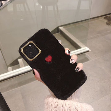 Cute love heart plush Phone Case embroidery