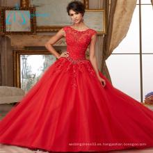 Apliques de encaje que rebordea los vestidos elegantes cristalinos de Quinceanera