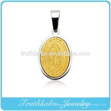 Pendentif fait sur mesure religieux gracieux petit en or 24K Vierge Marie pendentif bijoux en acier inoxydable de Dubaï
