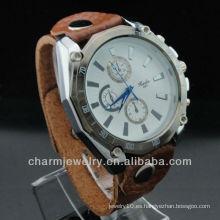 2015 relojes grandes de la raya del cuarzo del reloj de la correa de cuero de la venta caliente para los hombres WL-034
