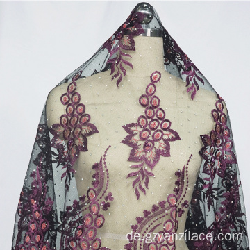 Light Purple Indian Embrodiery Spitze Stoff für Kleid