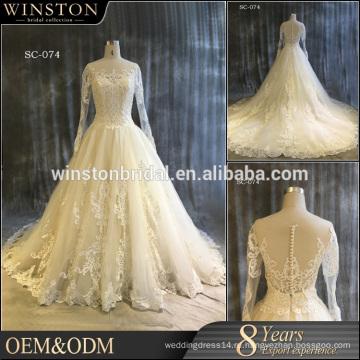 100% реальные фотографии на заказ с длинным рукавом кружева свадебное платье,дешевые платья невесты