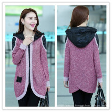 Корейский Мода Высокое качество Женщины Повседневный длинный с капюшоном пальто