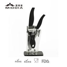 4PCS Mirror Black Blade Ceramic Kitchen Knife Set with Peeler