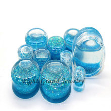 Bouchons d'oreille en acrylique à paillettes liquides bleu clair de calibre 00