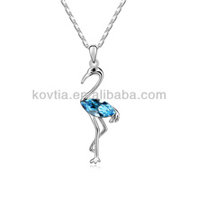 Atacado asas de frango preços colar de pingente de pássaro elegante colar de cristal de safira azul