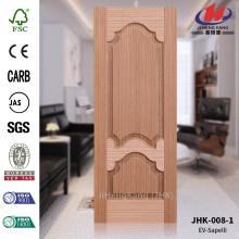 JHK-008-1 Made in China Economic Multiple Design French Popular EV Sapelli Veneer Wood Grain MDF Door Skin Manufacture