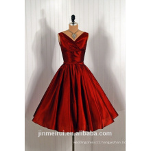 1950's Vintage Satin Knee Length Burgundy Short Prom Dress