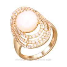 Mais recentes anéis de zircão jóias grande pedra chapeamento anel de mercado de amostra de ouro branco