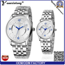 Yxl-334 Quartz Movt Couple Watches Japanese Movt Stainless Steel Band Lover Calendar Mens Women Watches