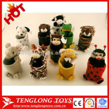 cheap hot sale lovely animal plush pen holder for kids