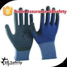 SRSAFETY 13 gauge blue nylon and spandex liner coated black foam, blue dots on palm gloves