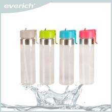 Botella de agua potable del deporte del vidrio 600ml con la paja y el casquillo del deporte de los PP