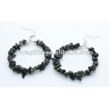 Boucle d'oreille à perles obsidiennes à forme ronde