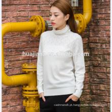 Camisola de colarinho de gola de mulher de confecção de caxemira