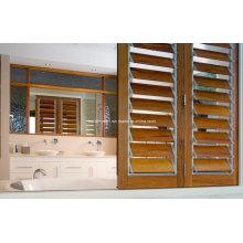 Living Room Residential Frame Wood Grain Aluminium Louvre Window