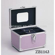 Nova caixa de joias de alumínio de chegada com uma bandeja removível para dentro