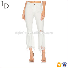 Pantalones lápiz blanco lavado lavados rasgado denim para mujeres
