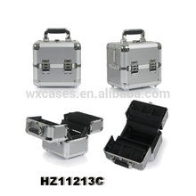 silver small aluminum cosmetic case with 4 trays inside hot sales