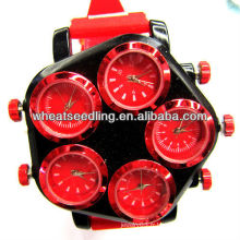 Flower Look Multiple Head pour différents horloges mondiales Silicon Wrist Band Jewerlry Watches JW-18
