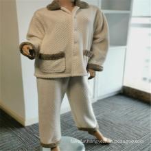 100% Polyester Brushed Pockets Lapel Pajamas