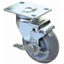 Roulette pivotante PU avec frein latéral (Gris)