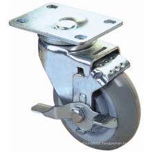 Swivel PU Caster with Side Brake (Gray)