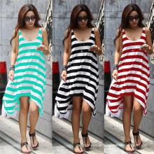 Hot Sale Mulheres Moda Irregular Strips Casual Beach Dress