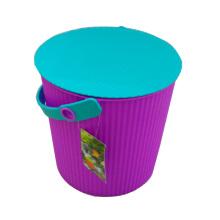 Seau de stockage en plastique pourpre avec poignée (B05-6668)