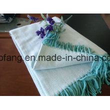 Woven Pure Cotton Herringbone Throw with Fringe
