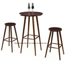 Простые дешевые твердой древесины стол и стул для бар