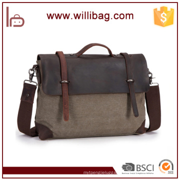 China Supplier Hotsale Outdoor File Messenger Bags Canvas Leather Shoulder Bags For Man