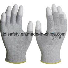 Углеродного волокна безопасности перчатка с PU покрытием (PC8102)