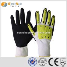 SUNNY HOPE 13 gauge forro branco Luvas de nitrilo de impacto arenoso com TPR, luvas de mão esportiva