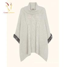 Кабельные модные женские Кашемировые водолазки трикотажные пончо с мехом