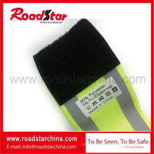 100% polyester elastic adjustable hook and loop reflective safety armband