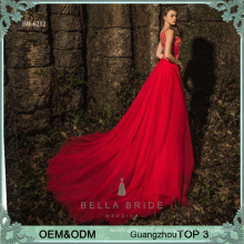 Lange Kleidentwürfe kackt rotes Abendkleid wulstiges Netzkleidentwurf elegantes Partei-Abendkleid