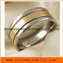 Shineme Joyería Buena calidad y compromiso Oro plateado anillo de titanio de joyería (TR1840)
