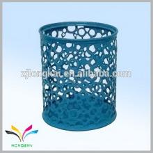 Blue colorful round metal string ceramic pen holders cartoon pen holder