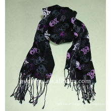 factory made printed scarf with skull