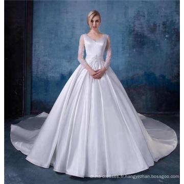 Élégant appliques v-cou à manches longues robes de mariée en satin robe de mariée