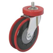 PU Shopping Trolley Caster (One Groove) - Red