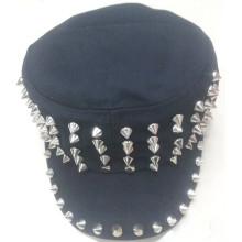 Cotton flat top cap rivet military cap hip-hop design hat