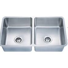 Counter Top Double Bowls Satin Kitchen Sink (KUD3319-N)