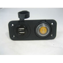 Dual USB Charger and Lighted Switch Marine 12 Volt Panel Dashboard