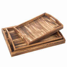 Set of 3 Torched Wood Rectangular Nesting Breakfast, Coffee Table / Butler Serving Trays, Dark Brown