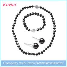 Новая мода ожерелья жемчужина ювелирные изделия браслет выделить черный жемчуг наборы ювелирных изделий