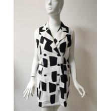 Bedrucktes Kleid aus Viskose / Nylon / Leinen mit Tasche